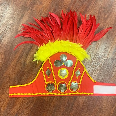 READY MADE COSTUME: RED/YELLOW HEADPIECE