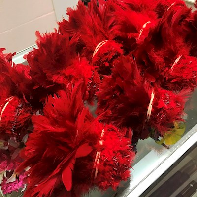 SALE!!! RED STRUNG FEATHER - 1 YARD