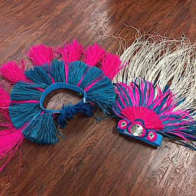 IN STOCK - T9XF HEADDRESS IN PINK & TURQUOISE